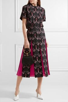 Valentino - Love Blades Silk-paneled Printed Wool-blend Midi Skirt - Black - IT42