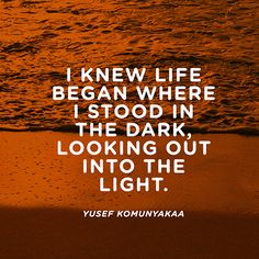 """""""I knew life / Began where I stood in the dark, / Looking out into the light."""" — Yusef Komunyakaa"""