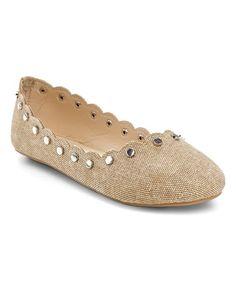 Beige Studded Scalloped Flat