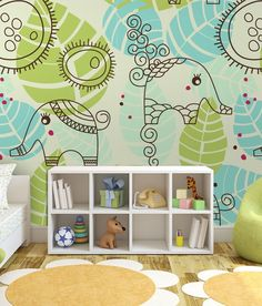 Ideas for nursery: wallpapers with animals for children. Check out other sweet wallmurals for kids room