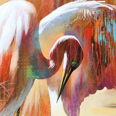 Abstract Bird Art Contemporary Egret Painting by AbstractBrush Large Canvas Prints, Stretched Canvas Prints, Art Koi, Modern Art Prints, Fine Art Prints, Ouvrages D'art, Tropical Birds, Watercolor Bird, Reproduction