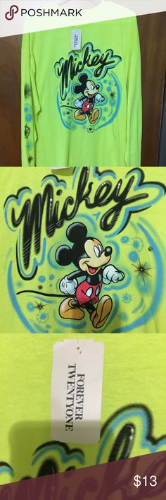Forever 21 Mickey Mouse Graffiti Long sleeve T L Forever 21 Mickey Mouse Graffiti Sweatshirt Bright Neon Yellow Size Large. Brand New! Great Mickey Mouse long sleeve tee. It is a very bright color.   Measurements: (approximate)  Length: 31 inches  Bust: 24 inches (double for complete around measurement)  Waist: 24 inches (double for complete around measurement)  Sleeve length: 23 1/2 inches Forever 21 Tops Tees - Long Sleeve