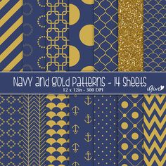 ON SALE 30 Navy and Gold  Navy Gold Patterns Digital by igivelove, $2.10