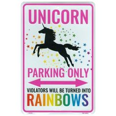 Unicorn Parking Only Sign, Violators Will Be Turned Into Rainbows, 8 x 12 Inch Aluminum Novelty Signs For Kids Room, Funny Metal Wall Décor, Gifts for Girls – ideasgift