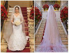 Noiva | Bride | Vestido | Dress | Vestido de noiva | Wedding dress | Bride's dress | Inesquecivel Casamento | Renda | Rendado | Vestido rendado | Véu | Véu de noiva | Grinalda | White dress | Vestido bordado | Bordado | Decote | Vestido manga comprida