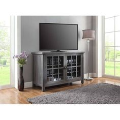 Amazing offer on Better Homes Gardens Oxford Square TV Stand Console Designed Accommodate Flat Panels TVs 55 135 lbs (Gray) online - Topfurniturestore Tall Tv Stands, Rustic Tv Stands, Unique Tv Stands, 55 Inch Tvs, Tv Entertainment Centers, Entertainment System, Tv Stand Console, Center Console, Tempered Glass Door