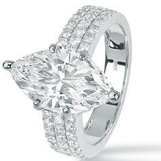 1.48 Carat GIA Certified Marquise Cut / Shape 14K White Gold Modern Triple Three Row Pave Set Round Cut Diamond...