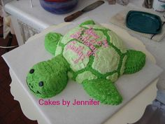 Turtle - Used Soccer pan and cake scraps to make this cutie for a little girl who is NUTS about turtles.  All buttercream.