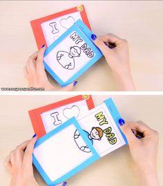 How to Make a DIY Father's Day Magic Card (Template Included.-How to Make a DIY Father's Day Magic Card (Template Included) – Easy Peasy and Fun This Father's day magic card is the coolest thing ever! Diy Arts And Crafts, Creative Crafts, Fun Crafts, Paper Crafts, Magic Crafts, Paper Toys, Cardboard Crafts, Diy Paper, Diy For Kids