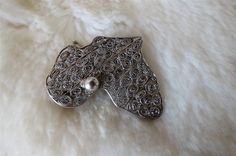 Vintage 925 Sterling Silver Filigree Africa Brooch