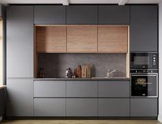 Minimal Kitchen Design, Modern Grey Kitchen, Modern Kitchen Interiors, Luxury Kitchen Design, Kitchen Room Design, Modern Kitchen Cabinets, Kitchen Cabinet Design, Home Decor Kitchen, Interior Design Kitchen