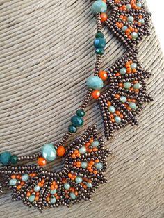 Egyptian Collars in Gold and S Seed Bead Necklace, Seed Bead Jewelry, Bead Jewellery, Diy Necklace, Bead Earrings, Beaded Jewelry, Jewelery, Handmade Beads, Handmade Jewelry