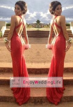 Wholesale Prom Dresses - Buy New Sexy V Neck Red Sequins Mermaid Prom Dresses 2015 Floor Length Formal Backless Evening Gowns BL9929, $109.95 | DHgate