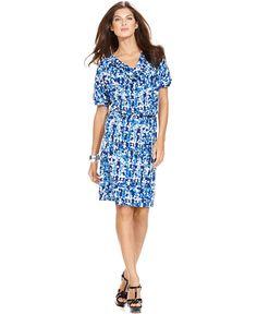 Ellen Tracy Dress, Short Sleeve Printed Cowlneck Blouson