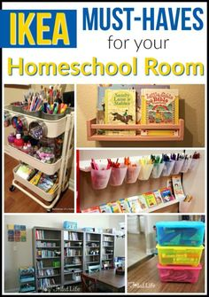 IKEA is THE place to go to outfit your homeschool room. From furniture, to storage and organizational items, to school supplies, IKEA has a huge selection of products that are beneficial to homeschoolers. Homeschool Supplies, Homeschool Kindergarten, Preschool At Home, Home Learning, Learning Spaces, Toddler Learning, Preschool Learning, Toddler Activities, Learning Activities