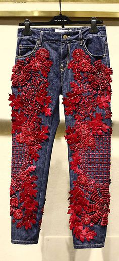 Разнообразный декор джинсов: вышивка, роспись, кружево - Ярмарка Мастеров - ручная работа, handmade