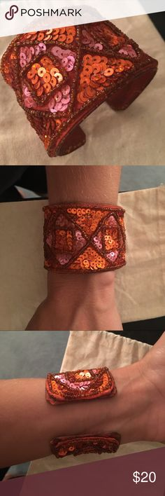 💕BUNDLE ME💕 Orange cuff bracelet Bright, stunning beaded orange cuff bracelet Jewelry Bracelets