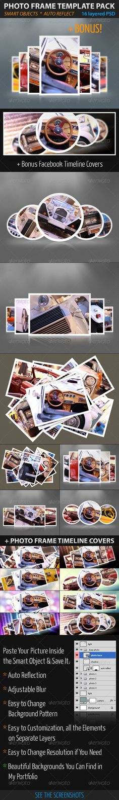 Photo Frame Template Pack  #GraphicRiver         High Quality Photo Frame Template Pack   8 layered PSD files, 1920×1440 but Easy to Change Resolution if You Need   Paste Your Picture Inside the Smart Object & Save It.    Auto Reflection     Adjustable Blur     Easy to Change Background Pattern     Easy to Customization, all the Elements on Separate Layers     Beautiful Backgrounds You Can Find in My Portfolio     Photos in the preview image are not included    Easy work…