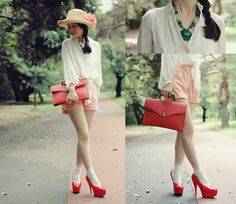 Red and pink with white (by Shan  Shan) http://lookbook.nu/look/2250245-red-and-pink-with-white