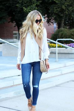 Abercrombie-Fitch-White-Flowy-Blouse-Fall-Denim-Styles-Lace-Up-Flats