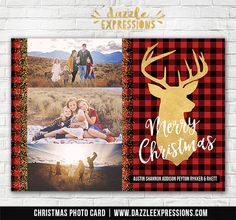 buffalo plaid rustic christmas photo card christmas photo card