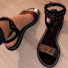22c0a1e1c Louis Vuitton Women Leather Sandals Flat Shoes