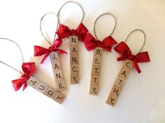 Set of 5 CUSTOM scrabble tile ornaments, up to 5 letters per ornament, gifts for… Inexpensive Christmas Gifts, Homemade Christmas Gifts, Merry Christmas, Christmas Crafts, Christmas Ornaments, Scrabble Christmas Decorations, Scrabble Ornaments Diy, Christmas Holidays, Scrabble Tile Crafts