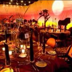 An African Safari Themed Event Love The Sunset Savannah Reception And Warm Tones Find This Pin More On Theme Wedding