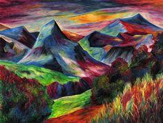 Rainbow Landscape original oil pastel drawing