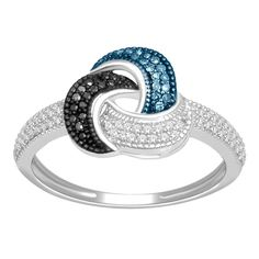 Sterling Silver 1/4ct TDW Blue, Black and White Diamond Ring   Overstock.com I LOVE THIS RING