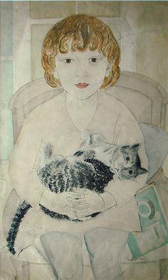 Taņa with a cat, Aleksandra Beļcova, 1928.