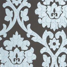Behang ornament bruin, ijsblauw 45943 - VOCA