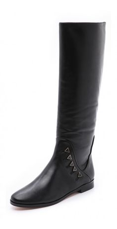 BILLY FLAT BOOTS $61.70 Enameled faux buttons add a vintage feel to leather House of Harlow 1960 boots. Rounded toe and exposed side zip. Stacked heel and leather sole.