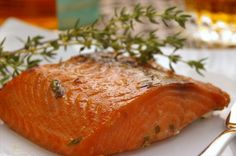 Irish Roasted Salmon fillets marinated in Irish whiskey and honey have a glazed look as well as a superb taste and texture. Fish Dishes, Seafood Dishes, Fish And Seafood, Seafood Recipes, Cooking Recipes, Recipes Dinner, Seafood Meals, Veggie Dishes, Dinner Ideas