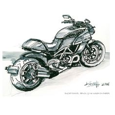 Ducati Diavel. Pencil & ink wash on paper.