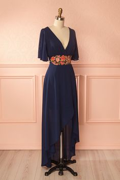 Merila Navy Blue Embroidered High-Low Wrap Dress | Boutique 1861