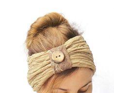 beige headband with button , fashion hair accessory , cute headwear , ruffled headband , turban Hairband, Turban Headbands, Beige, Headgear, Hair Accessories, Fashion Hair, Buttons, Etsy, My Style