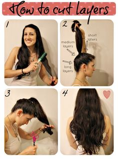 How To Cut Layers- I am sooo trying this. Haven't had a hair cur in a year and a half, so even if it sucks, I get an excuse to go to a salon to fix it. man Haare schneiden Pony How To Cut Layers Cut Own Hair, How To Cut Your Own Hair, How To Trim Hair, How To Layer Hair, Cut Hair Diy, Diy Hair Trim, Cut Hair At Home, Trim Your Own Hair, Long Hair Trim