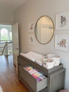 Nursery Drawer Organization, Baby Room Storage, Baby Closet Organization, Organize Nursery, Changing Table Organization, Baby Nursery Closet, Small Nursery Rooms, Girl Nursery, Baby Nursery Ideas For Girl
