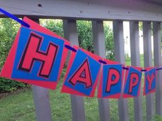 """This Spiderman inspired Happy Birthday Banner is sure to make a great impression at your upcoming party! The squares measure approximately 4"""" x 4"""" and the entire banner (including ribbon) measures about 12 feet.  Names up to 8 letters can be added for an additional charge of $5.  Custom Cupca..."""