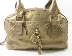 AUTH CHLOE Metallic Gold Leather Glam Petit Lock Shoulder Handbag at www.ShopLindasStuff.com