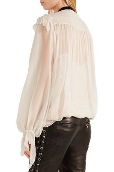 Shop on-sale Chloé Velvet-trimmed ruffled silk-crepon blouse. Browse other discount designer Tops & more on The Most Fashionable Fashion Outlet, THE OUTNET.COM
