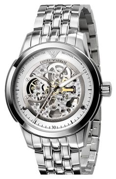 Emporio Armani 'Meccanico' Automatic Round Watch by nordstrom Army Watches, Seiko Watches, Best Watches For Men, Cool Watches, Casual Watches, Skeleton Watches, Beautiful Watches, Stainless Steel Bracelet, Luxury Watches