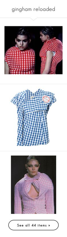 """""""gingham reloaded"""" by lucylove4 ❤ liked on Polyvore featuring Summer, picnic, miumiu, gingham, ChristopherKane, tops, blue, gingham top, asymmetric top and blue top"""