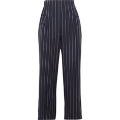 GANNI Oakwood cropped pinstriped stretch-crepe wide-leg pants (£155) via Polyvore featuring pants, capris, midnight blue, blue pants, wide leg cropped pants, navy blue trousers, navy pants and striped wide leg pants