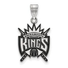 Sterling Silver NBA LogoArt Sacramento Kings Large Enamel Pendant