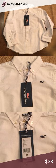 NWT boys 3T Vineyard Vines shirt, white. Brand new never worn size 3T boys Vineyard Vines button down shirt. White with blue detail, perfect for Easter! Vineyard Vines Shirts & Tops Button Down Shirts