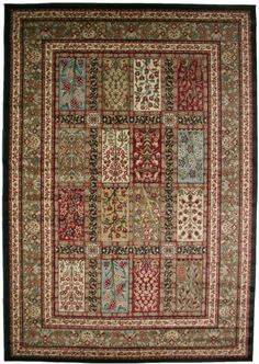 8x10 area rug black red blue green traditional garden eden fruits flowers floral