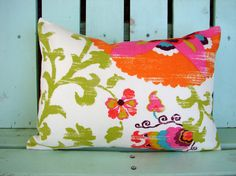 "12"" X 16""  pink, yellow, green,red,orange,purple outdoor/indoor suzani print fabric- decorative pillow cover-throw pillow-accent pillow"