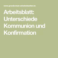 Arbeitsblatt: Unterschiede Kommunion und Konfirmation